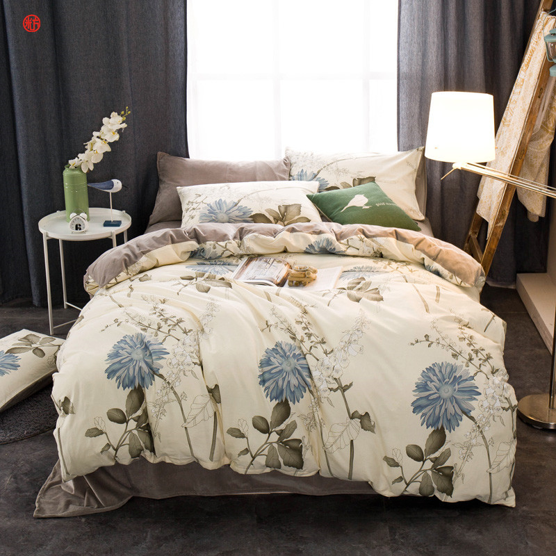 Winter bedding set grid cotton+crystal velvet duvet cover king queen soft warm bed sheet bed linen star dot bedding home textile