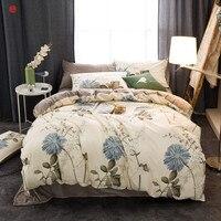 Winter bedding set grid cotton+crystal velvet duvet cover king queen soft warm bed sheet bed linen star dot bedding home textile