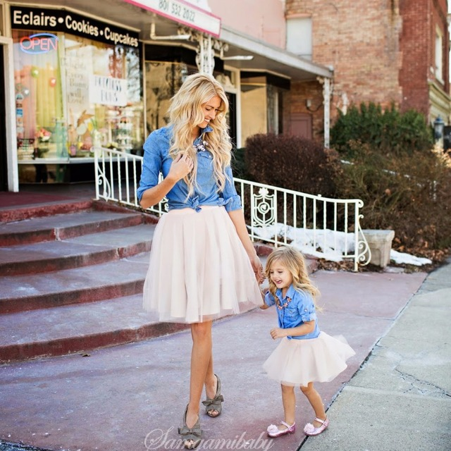 Mother daughter outfits family matching clothes jean blue jacket and white skirt 2pcs mom and daughter matching clothing set