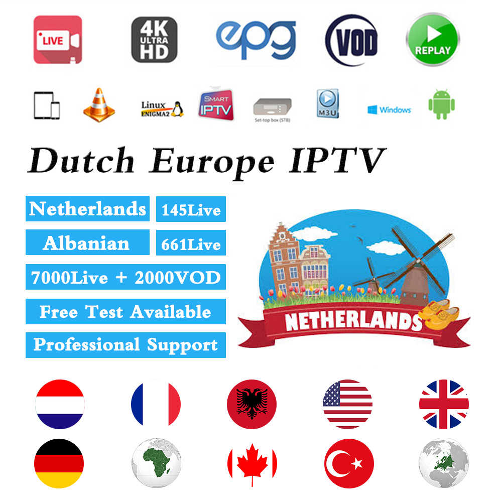 Голландский IPTV подписка Европа Нидерланды албанский Французский Испанский Швеция России Чешский/US/UK Canada для взрослых Поддержка Mag Enigma2 M3u