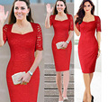 Hot sale 2016 new  Princess Kate Lace Dress Short Sleeve Sexy Women Gowns Dresses large Plus Size dress M L XL 2XL 3XL ~ 8