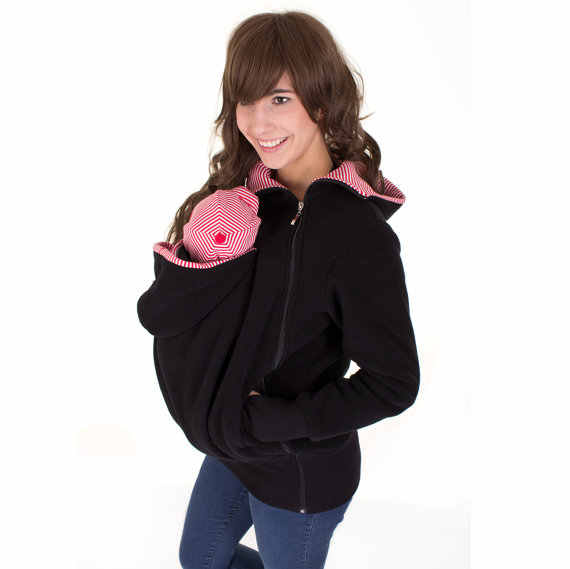 3in1 baby carrier coat, belly to baby fleece hoodie, anthracite-mint green with dots, baby wearing hoodie pregnancy Cosmama
