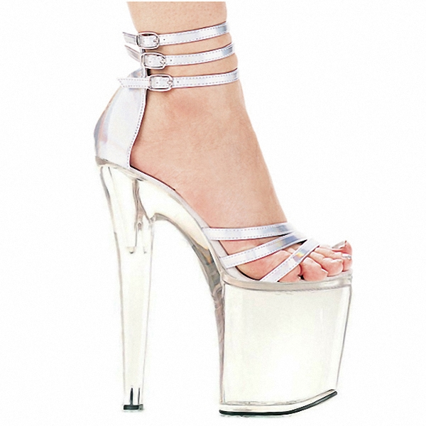 8 inch high heel shoes platform party crystal shoes silver white bridal shoes 20cm high heel sandals sexy Exotic Dancer shoes 20cm high heeled shoes transparent crystal sandals 8 inch wedding dress shoes back strap party exotic dancer performance shoes