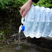 Hot Sale Portable PE Plastic Folding Drinking Water Bucket 10L Outdoor Camping Retractable Transparent Folding Bucket