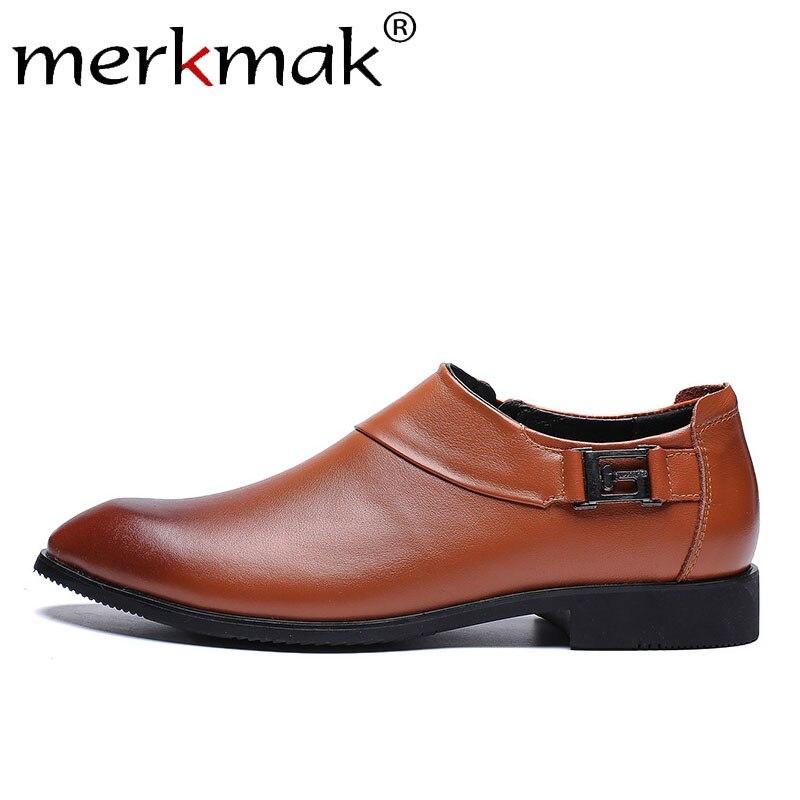 Merkmak été solide hommes chaussures en cuir mâle Oxfords pointu doux sans lacet affaires tenue décontractée chaussures homme appartements grande taille 38-48
