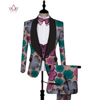 African Print 3 pieces Men sets Dashiki Top and Trouser & Vest Set Bazin Plus Size Traditional African Clothing WYN431