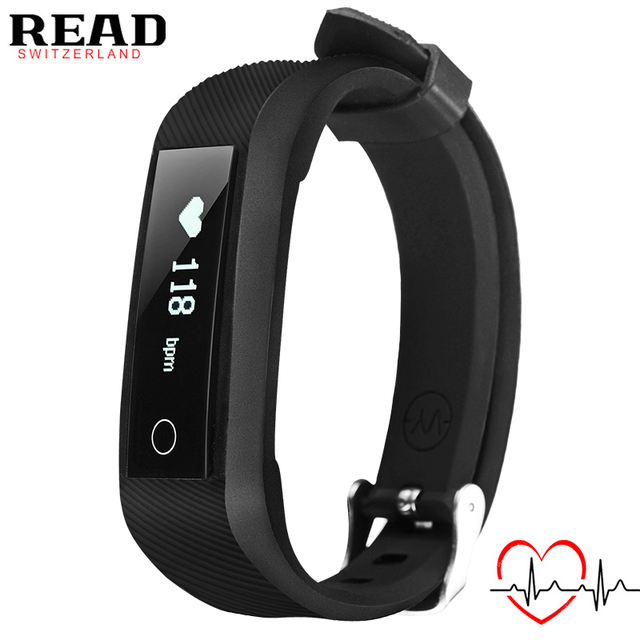 READ BRAND 2017 new R4 sports smart bracelet for Android & Apple black starp for rubber Heart Rate Monitor alarm clock Bluetooth