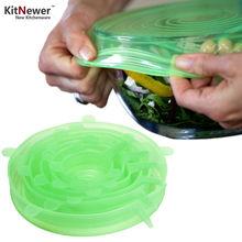 [1set=6pcs] Universal Silicone Lids,Reusable Seal Premium Stretch Food Wraps,Cookware Gadget Pot Pan Bowl Cover