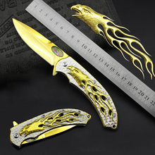 Gilded Bald Eagle Folding Knife 3D Relief Pocket Knife Perfect Tactical Survival Knives Camping EDC Tools 1925#