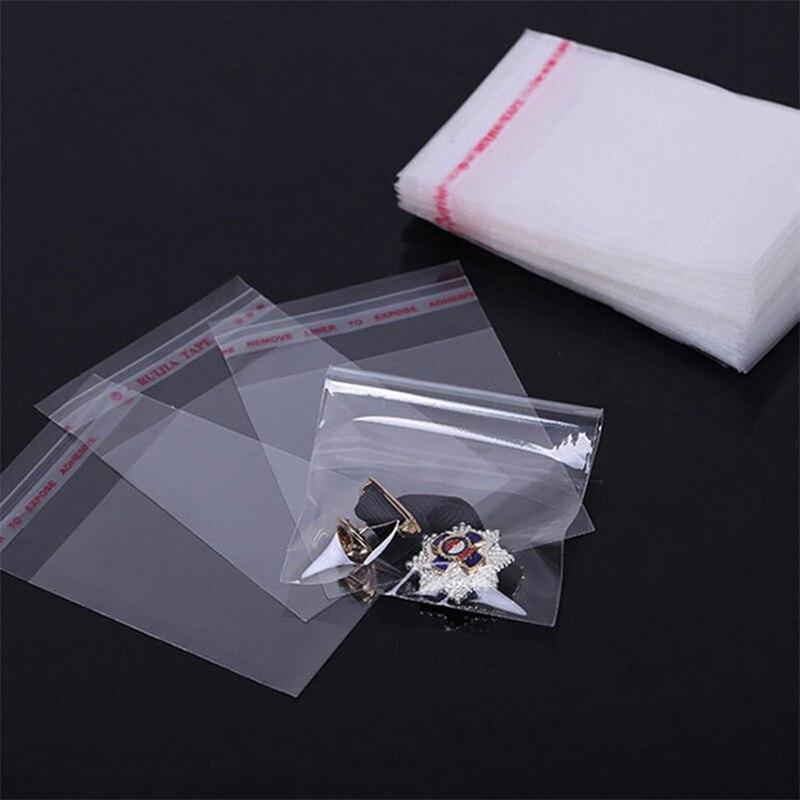 100 шт./лот Multi Размеры самоклеющиеся печать ясно Пластик сумки прозрачный хранения Пластик поли OPP сумки для ювелирных изделий упаковка