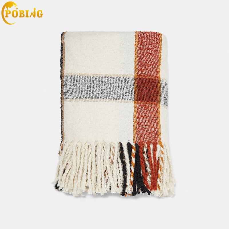 POBING Luxury za Brand Big Plaid Cashmere Scarf Women Scarves Wraps Shawl Warm Winter Blanket Tassel Pashmina Lady Cape Stoles