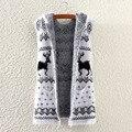 Осень зима Новый стиль женщин кардиган олень печатных рукавов свитер с капюшоном для женщин высокое качество мохер пиджаки леди