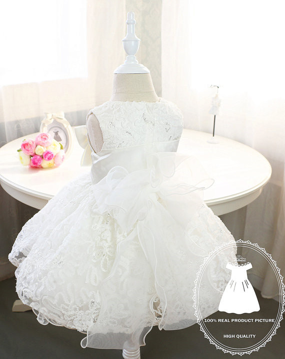 f1730721015 Elegant Baby Flower Girl Dresses with bow Newborn Party Dress Christening  dress baptism gown Tulle 1st birthday dress-in Dresses from Mother   Kids  on ...