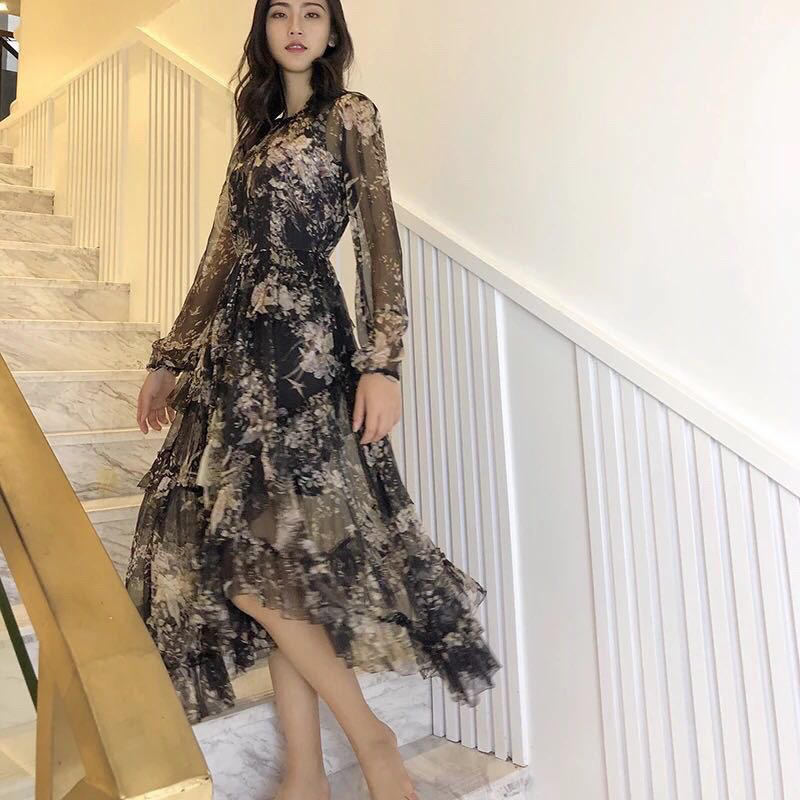 96b5417616b Luxe Affiches Fleur D été 2019 Robe De 2 24 Soie Femmes Manches À Rmsx  Longues ZWgqEq