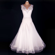 New Arrival Discount White Lady Women Performance Competition Standard Ballroom Dance Skirts Dress For Ballroom Dancing