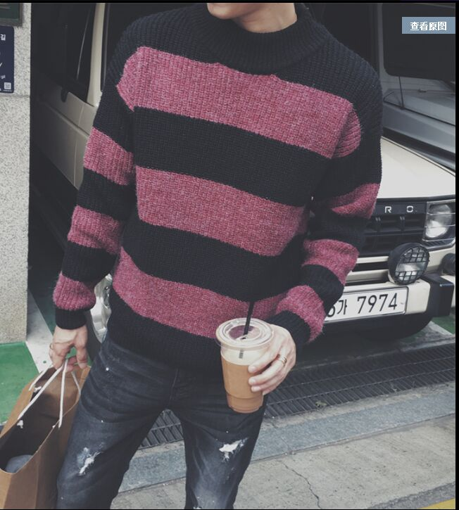 Discount Men s sweater winter striped sweater long - sleeved knitted semi - high collar loose trend sweater men clothing