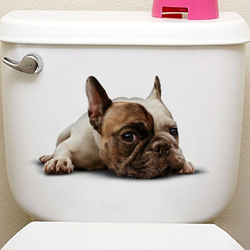 3D яркие Товары для собак Наклейки на стену Туалет дверь холодильника Кухня Ванная комната Декор Настенный декор животных наклейки на стены ...
