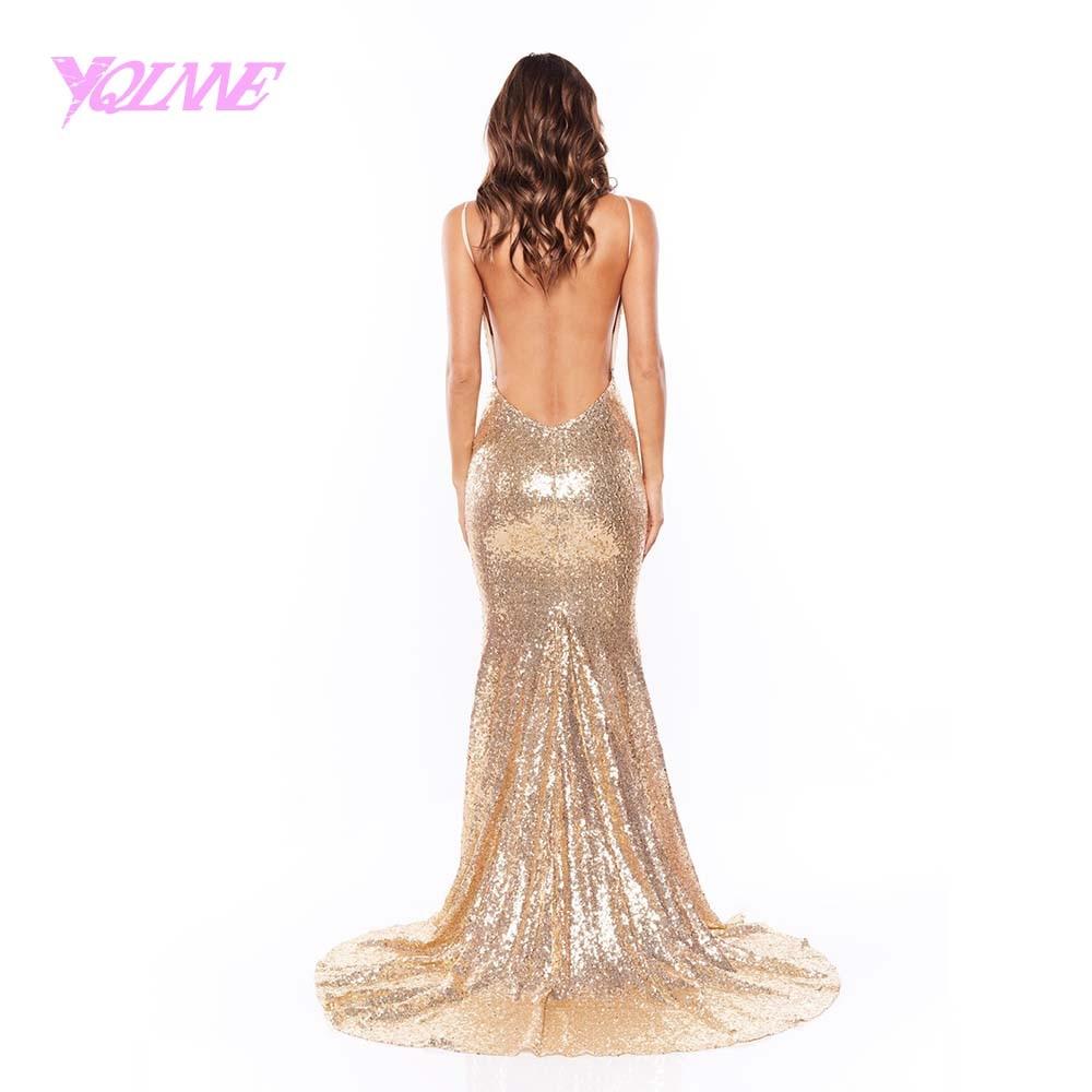 1ff31198 Gold Sequin Long Prom Dresses 2018 Mermaid Strapless Sleeveless ...