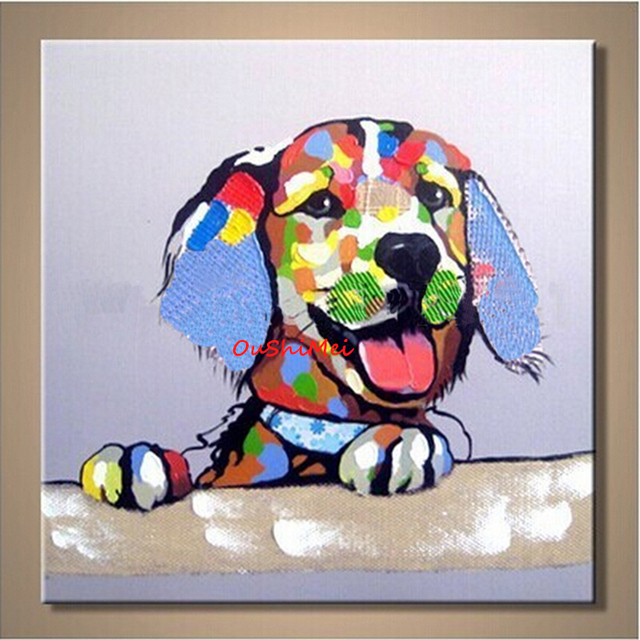 Lovely Dog Oil Painting Scenery Paintings Wedding Decoration Hang A Picture  For Kids Rooms Wall Picture Abstract No Frame