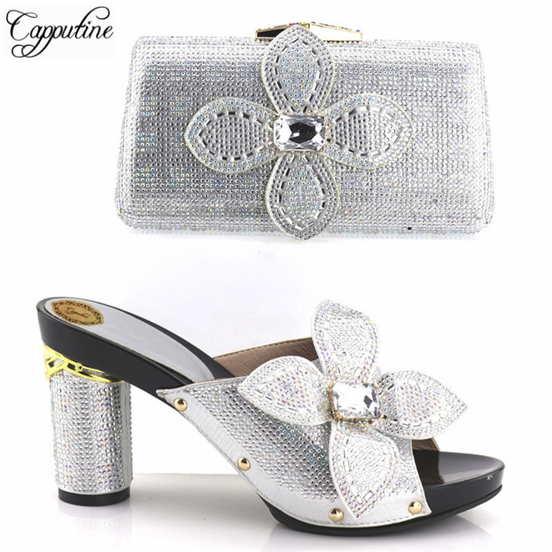Capputine 2018 New Arrival Silver Color Woman Shoes And Bag Set African Decorated With Rhinestone Shoes And Purse Set For Party все цены