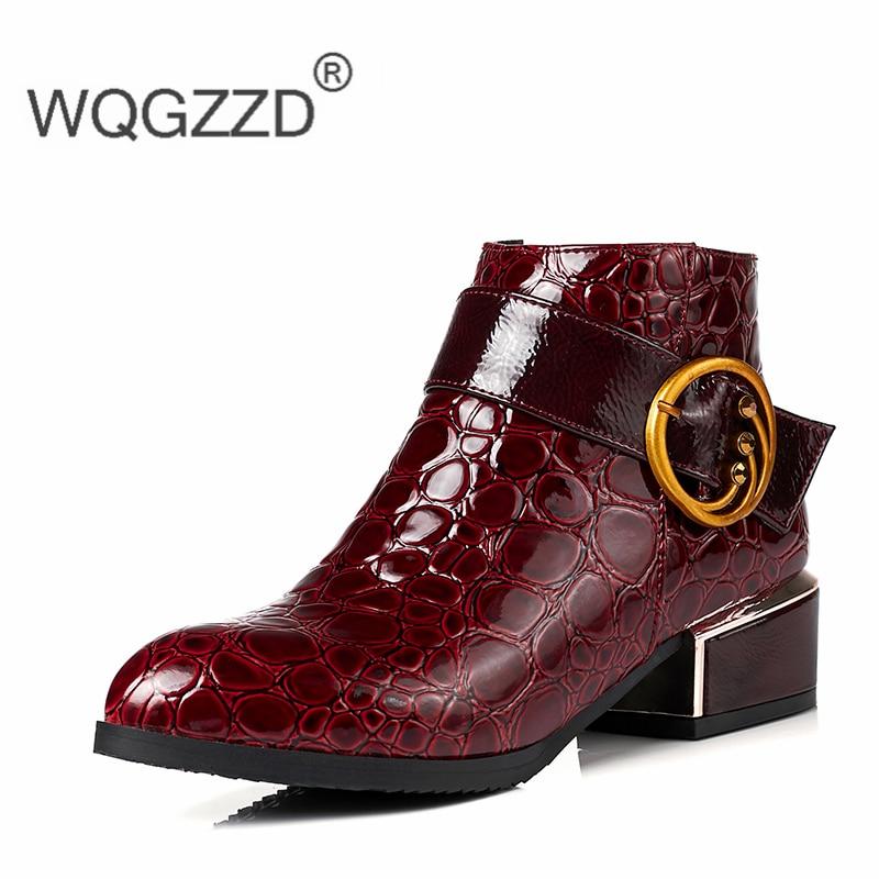 azul Tobillo Tamaño Negro Tacones 2019 rojo De Las Más Mujeres Cuero Para Femme Bajos Invierno Bottes 43 Europea Botas Zapatos 34 qfZwExZU1H