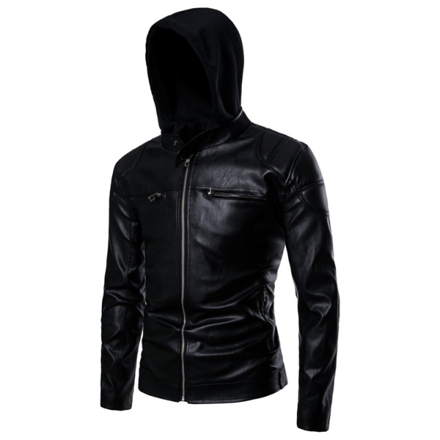 Black Hooded Leather Jacket Men Fake Two Pieces Zipper Male Leather Jackets and Coat Casual Mens Motorcycle Pu Leather Jackets