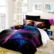 3D Galaxy Bedding Set Colorful Planet Print Duvet Cover Set Outer Space Star Bedding King Queen Bedclothes Pillowcase 3Pcs D35 star print full over bedding set