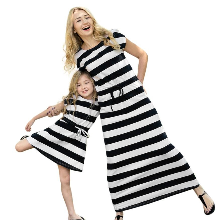 Mommy Me Women Striped Sundress Short Sleeve Lacing Slim Dress Family Clothes Vestidos Mujer Verano #Q