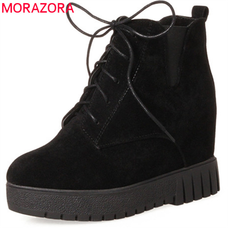 MORAZORA Big size 34-44 height increasing ankle boots for women platform boots in spring autumn women shoes fashion boots morazora fashion shoes woman ankle boots for women cow suede med heels shoes in spring autumn boots platform big size 34 44