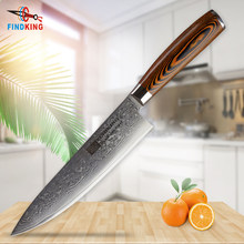 FINDKING 2017 new damascus steel blade color wood handle 8 inch damascus knife chef knife 67 layers damascus kitchen knife(China)