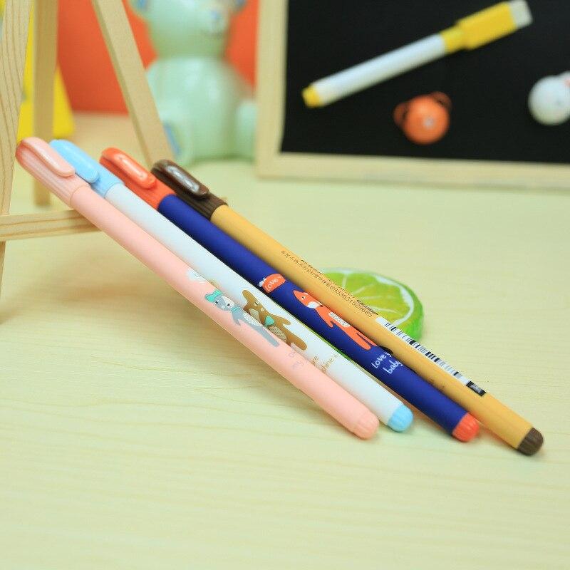 4X Kawaii Fox Bear Gel Pen Writing Signing Pen School Office Supply Kids Student Stationery 0.38mm Black Ink