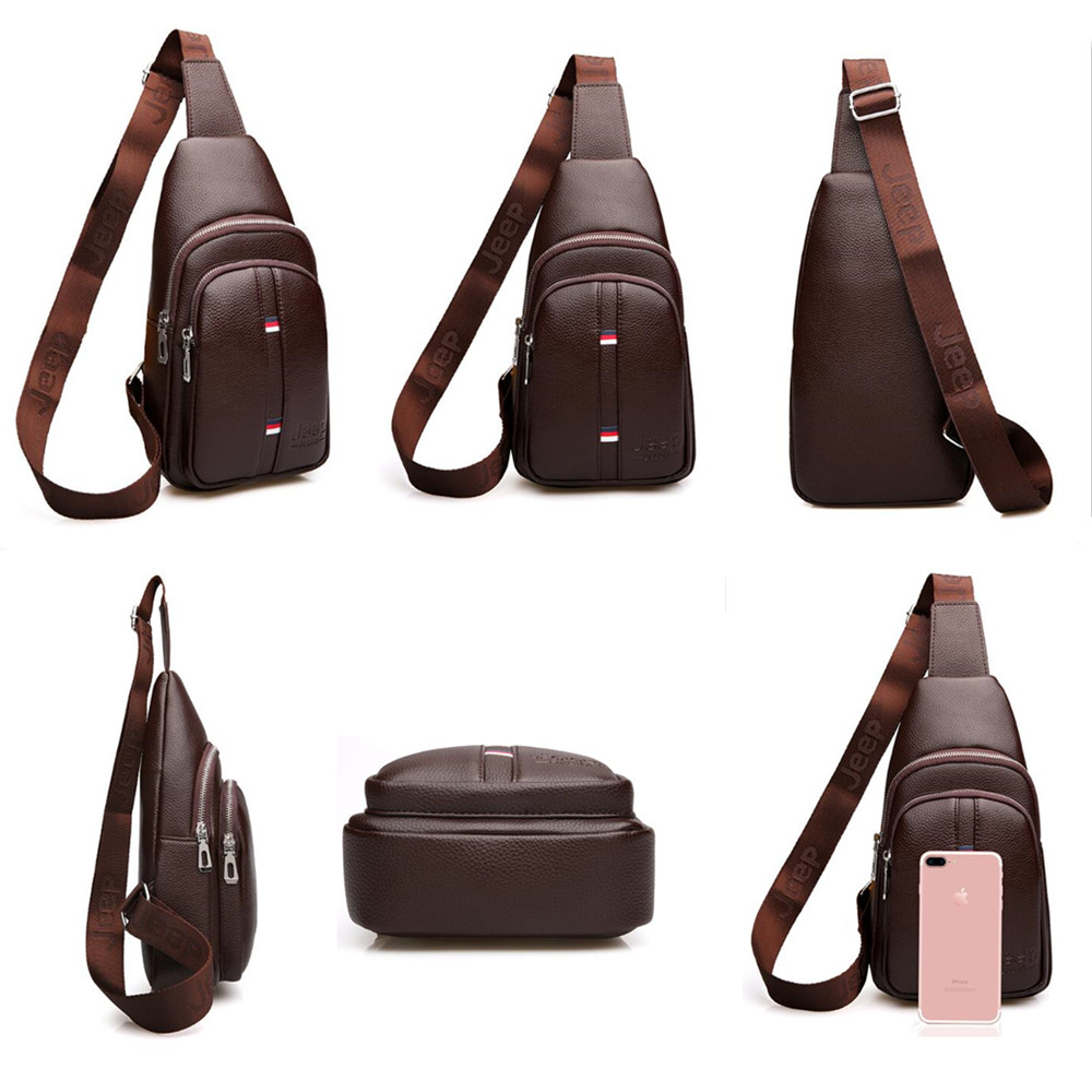 JEEP Fashion Capacity Man/'s Chest Bag Casual Crossbody Bags High Quality leather