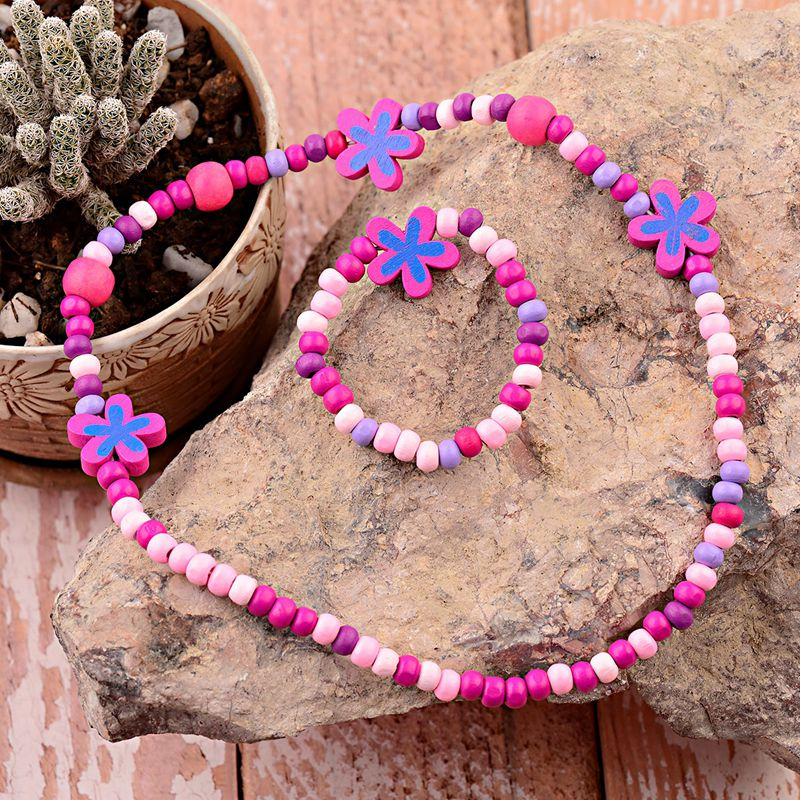 TopHanqi Lovely Girls Jewelry Sets Wood Beads Flower Shape Necklace Bracelet Set For Kids Children's Birthday Party Jewelry Gift