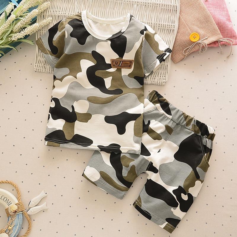 Bibicola/Летний Комплекты одежды для детей до года детские 2 шт. Камуфляжный спортивный костюм для малышей комплекты одежды для мальчиков для маленьких мальчиков спортивный костюм