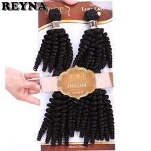 REYNA 4 adet/grup Funmi siyah renk sentetik saç uzantıları kıvırcık isıya dayanıklı saç demetleri örgü kadınlar için
