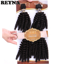 REYNA 4 teile/los Funmi Schwarz Farbe Synthetische Haar Extensions Curly Wärme Beständig Haar bundles Weben für frauen