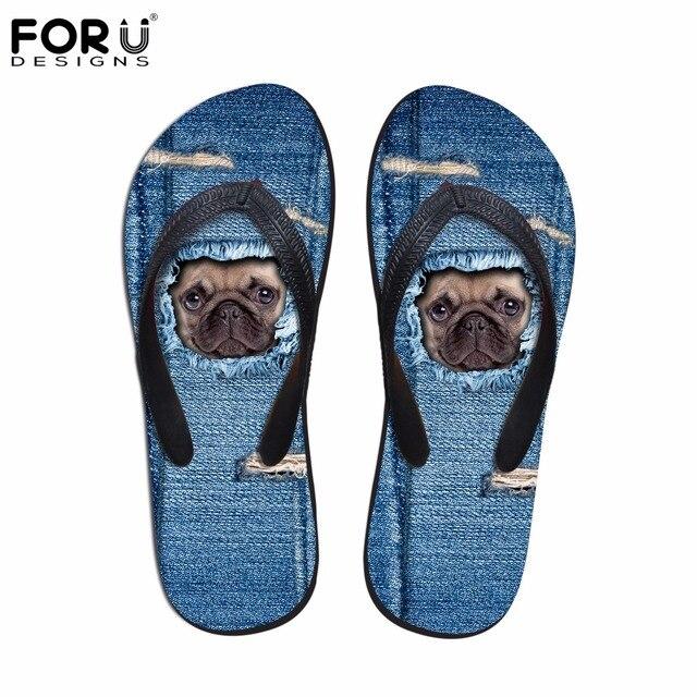 87234437bcdb1 FORUDESIGNS Casual Women Flip Flops Cute Denim Pug Dog Cat Pattern Summer Beach  Slippers for Ladies Female Rubber Flats Sandals