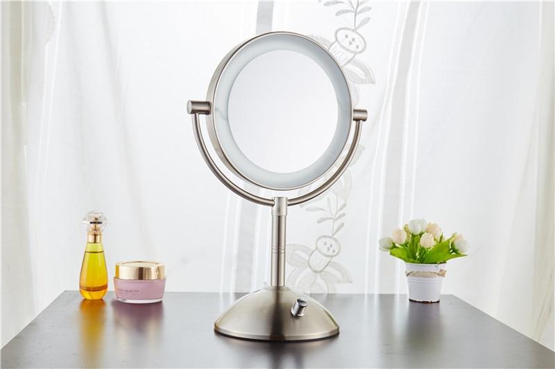 ФОТО 7 inch metal Nickel color desktop makeup mirror Double side mirror 3X magnifying  USB battery LED lamp  adjust the brightness