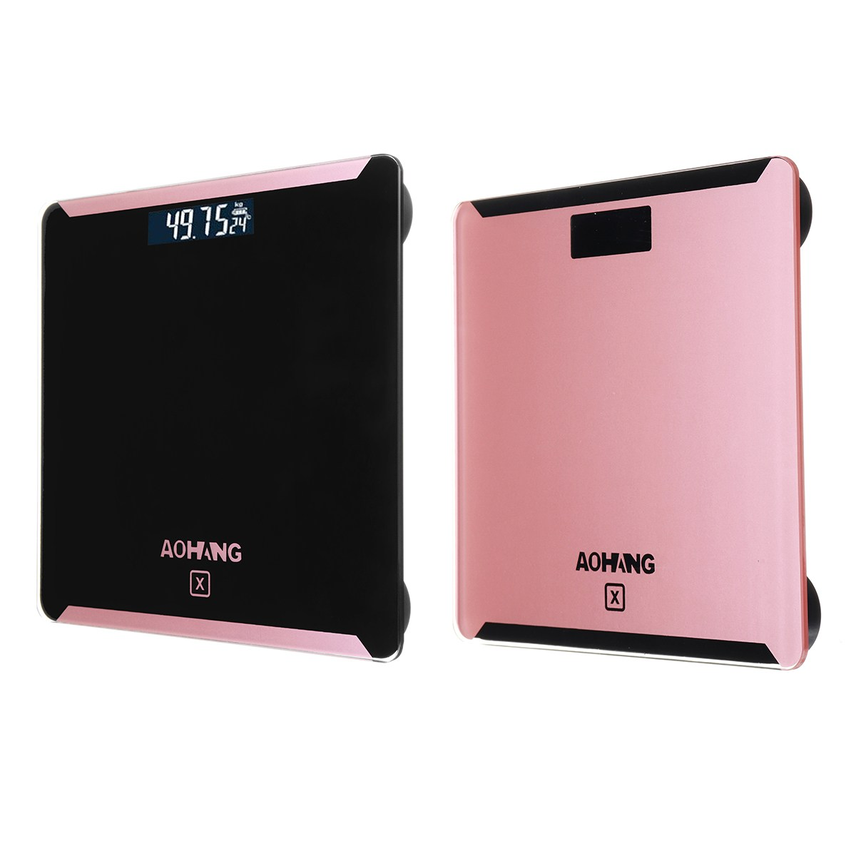 180kg/400lb Electronic LCD Digitial Bathroom Scale Body Weight Scale Fitness Fat Healty Beauty Tempered Glass Pink/Black