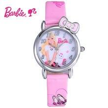 Disney Barbie Kids Watch Children Watch Princess Fashion Cute Wristwatches Girls Leather clock