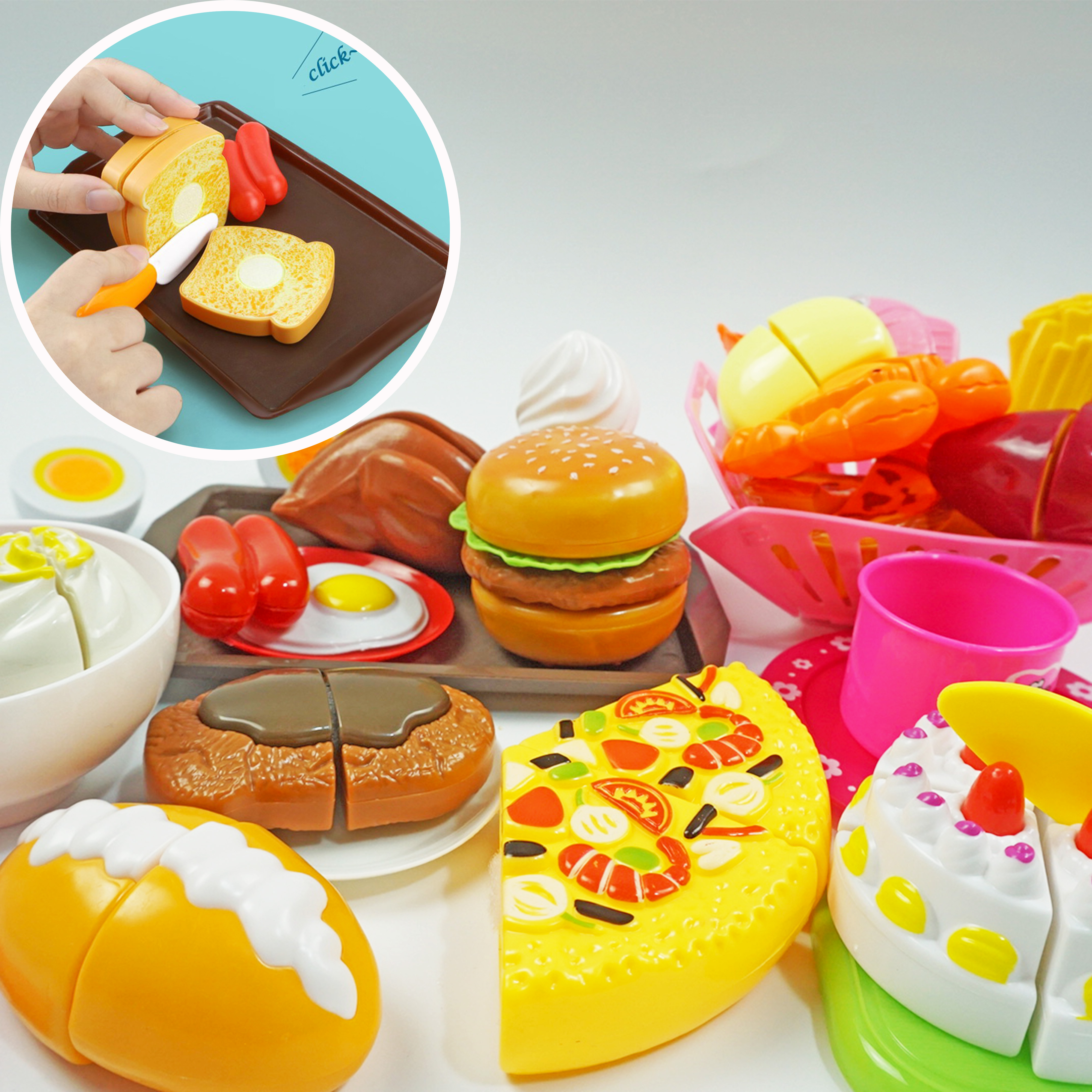 Children Kitchen Cutting Toys Miniature Tableware And Food Toy Fast Food Chopsticks Pretend Play Plastic Kids  Education Toy