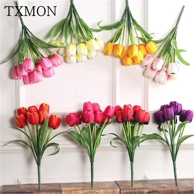 Aliexpress buy 9 tulips simulation silk flower holiday home 9 tulips simulation silk flower holiday home living room flower arrangement hotel office garden decoration photography mightylinksfo