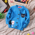 Bebé suéteres de algodón del otoño del resorte nuevos niños suéter de la historieta de los cabritos de punto gato moda pullover sweaters