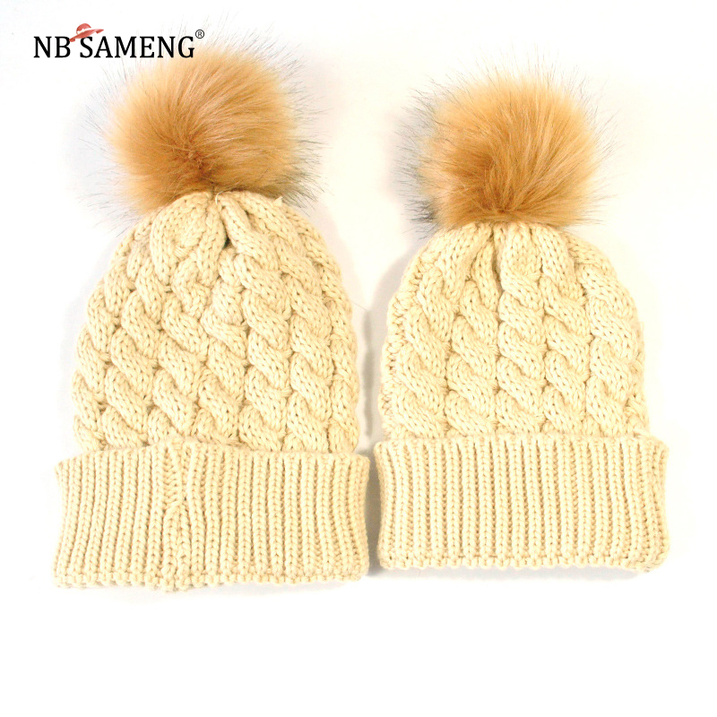 Winter Warm Mom&Newborn Baby Kids Hats Crochet Knit Hairball Beanie Cup 2PCS Mommy and m ...