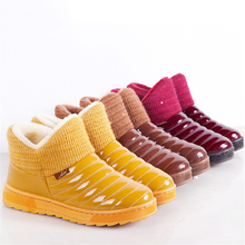 2018 New candy color women Winter Boots waterproof snow boots fashion Fur warm ankle Boots antiskid flat boots plus size ALF246