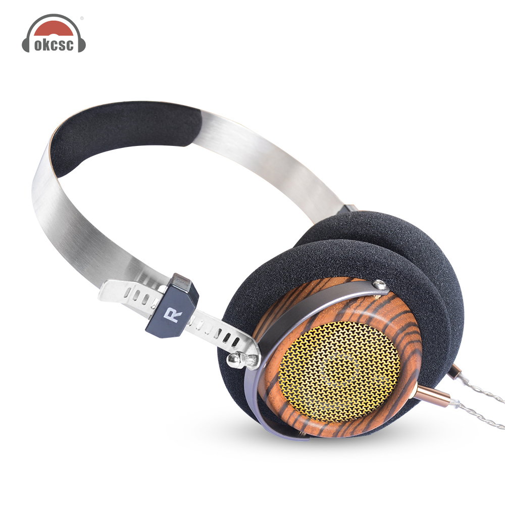 OKCSC M2 57MM Speaker Semi Open Back HIfi Olive Wooden Headphones With 5N OCC Plated Silver