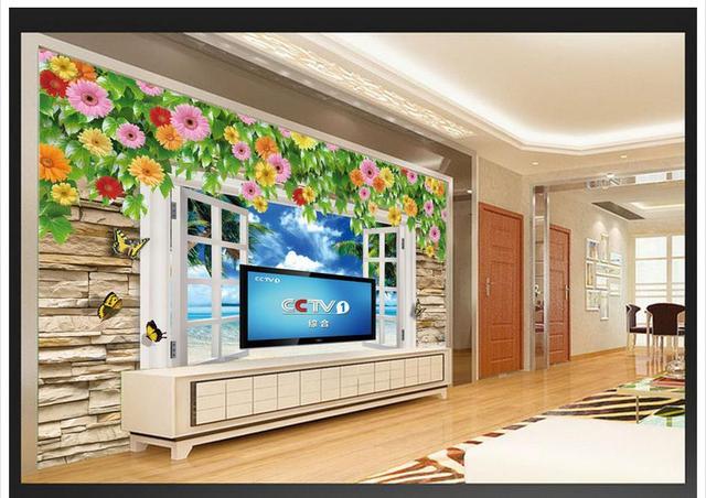 Decoratie Aan De Muur Buiten.Us 26 2 High End Nieuwe Custom 3d Foto Wallpaper Muurschilderingen Muur Papier Buiten De Venster Natuurlijke Clear 3d Stereo Tv Muur Decoratie