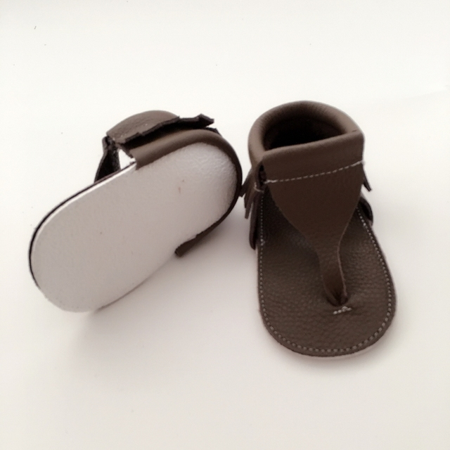Handmade Dark Khaki Baby First Walkers Genuine Leather Infant Shoes