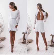 Women Dress Backless Bandage Bundle Waist Long Sleeve Mini Summer Elegant White
