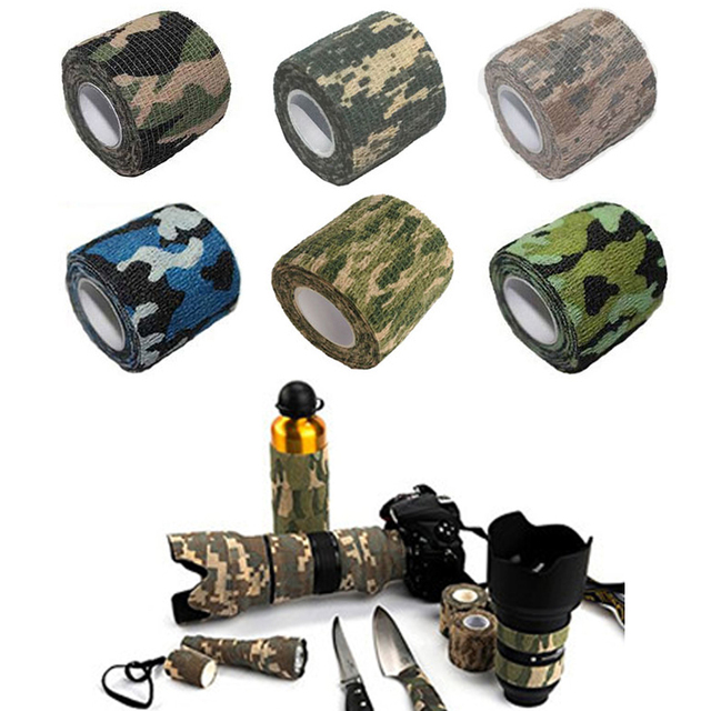 Military Tactical Camouflage Tape Fabric Camo Telescopic Insulated Cloths Tape for Hunting Rifle Gun 2 Pieces/lot HT9-0001